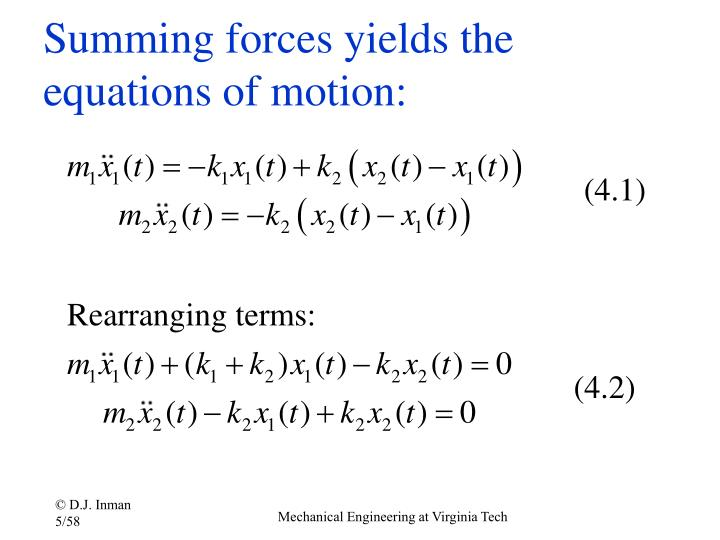 Summing forces yields the equations of motion: