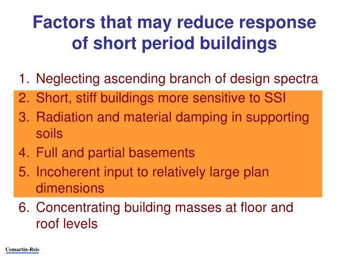 Factors that may reduce response of short period buildings