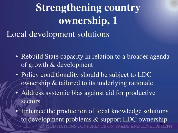 Strengthening country ownership, 1