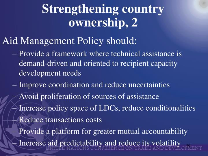 Strengthening country ownership, 2