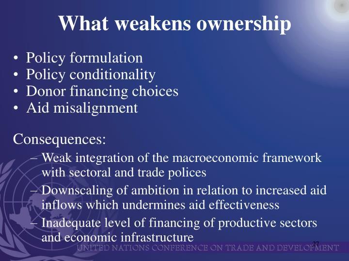 What weakens ownership