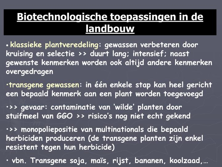Biotechnologische toepassingen in de landbouw