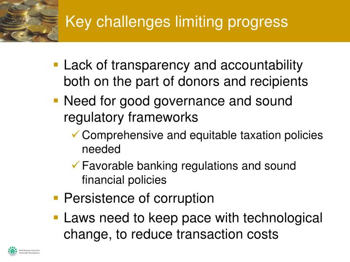 Key challenges limiting progress