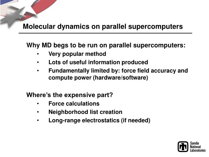 Molecular dynamics on parallel supercomputers