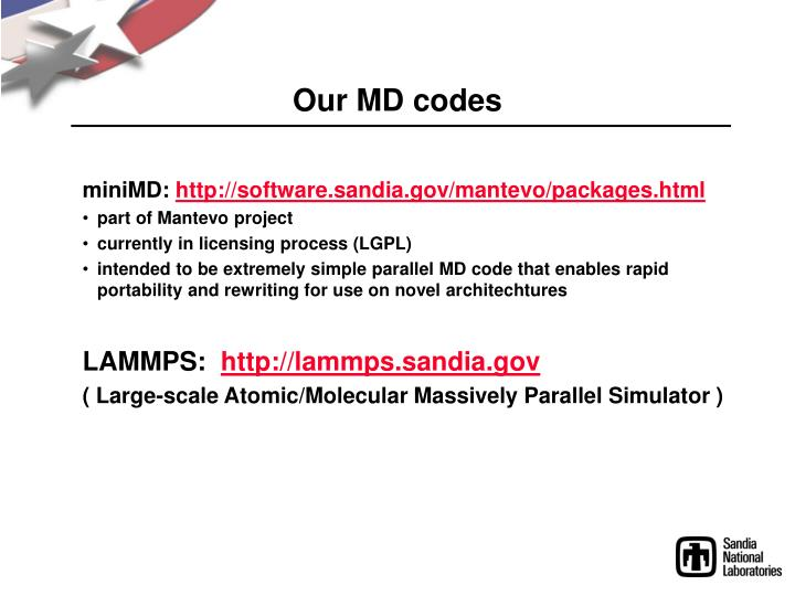 Our md codes