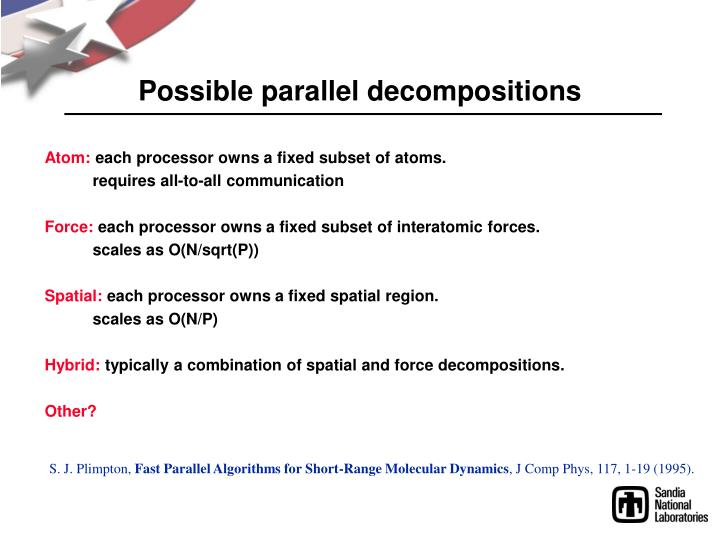 Possible parallel decompositions