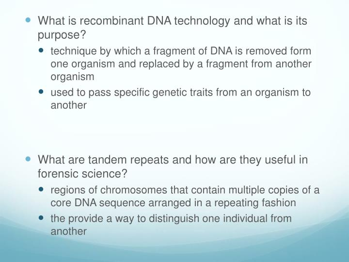 What is recombinant DNA technology and what is its purpose?