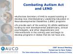 combating autism act and lend