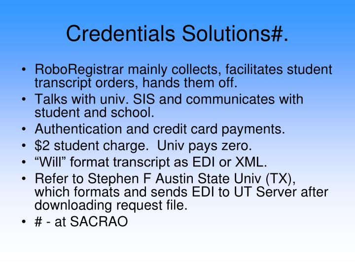 Credentials Solutions#.