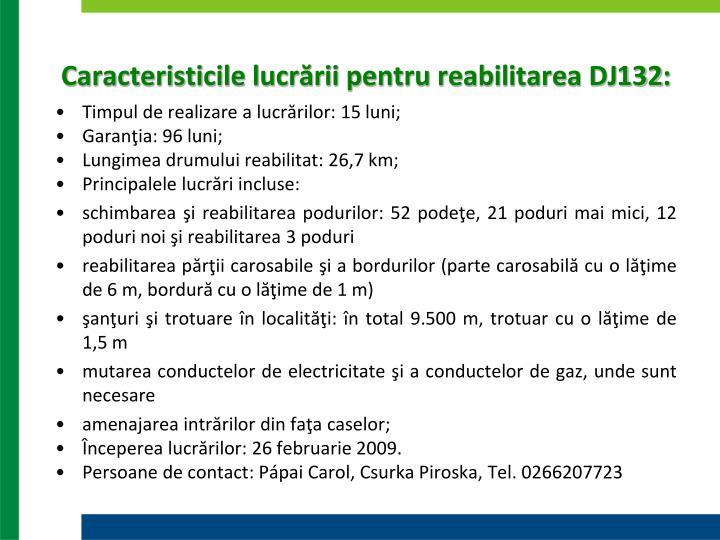 Caracteristicile lucrării pentru reabilitarea DJ132: