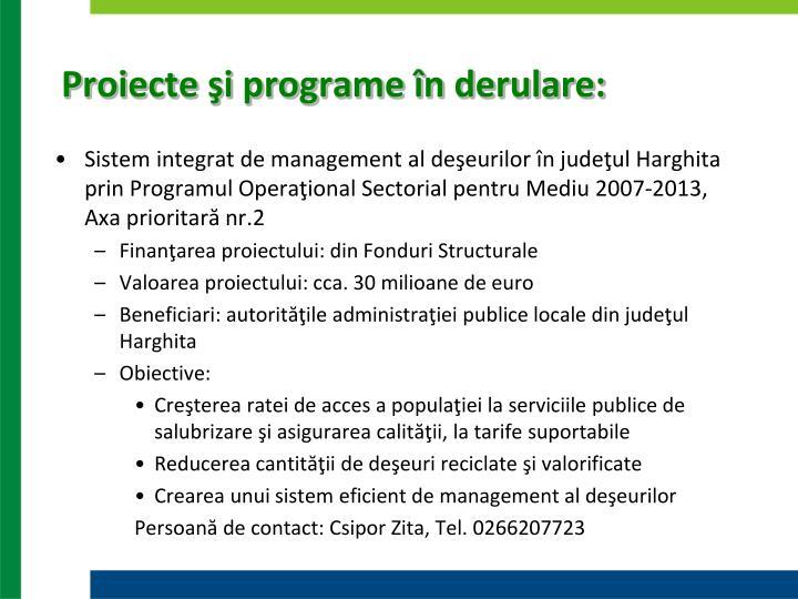Proiecte şi programe în derulare: