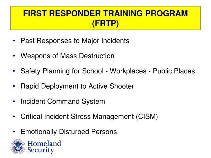 FIRST RESPONDER TRAINING PROGRAM