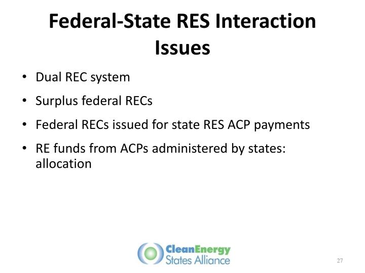 Federal-State RES Interaction Issues
