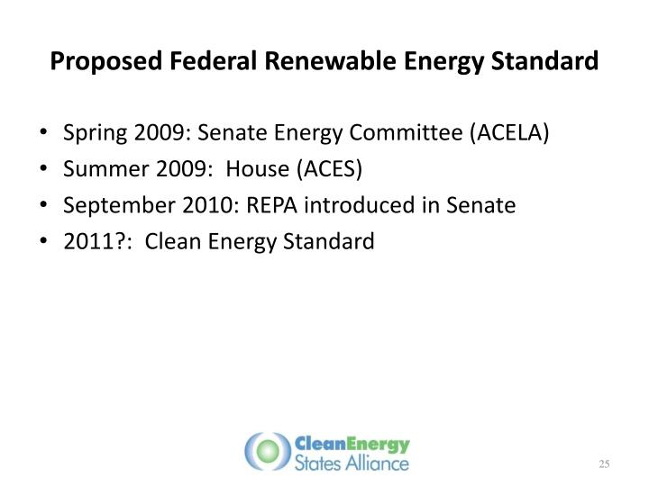 Proposed Federal Renewable Energy Standard