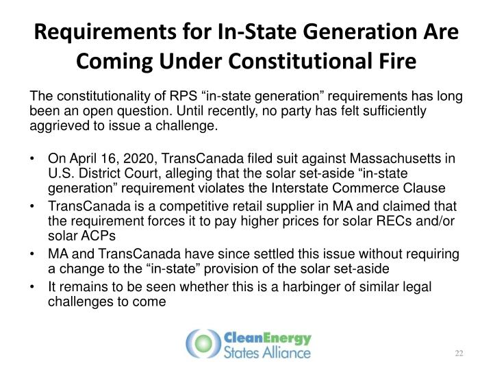 Requirements for In-State Generation Are Coming Under Constitutional Fire
