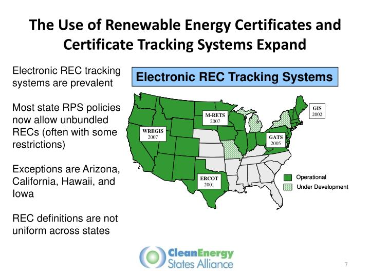 The Use of Renewable Energy Certificates and Certificate Tracking Systems Expand