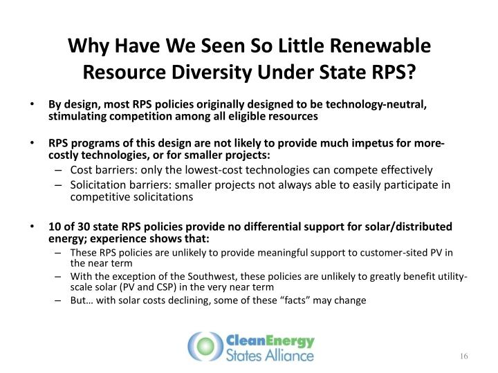Why Have We Seen So Little Renewable Resource Diversity Under State RPS?