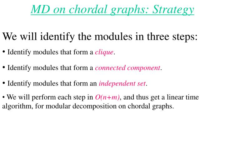 MD on chordal graphs: Strategy
