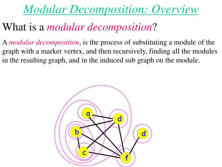Modular Decomposition: Overview