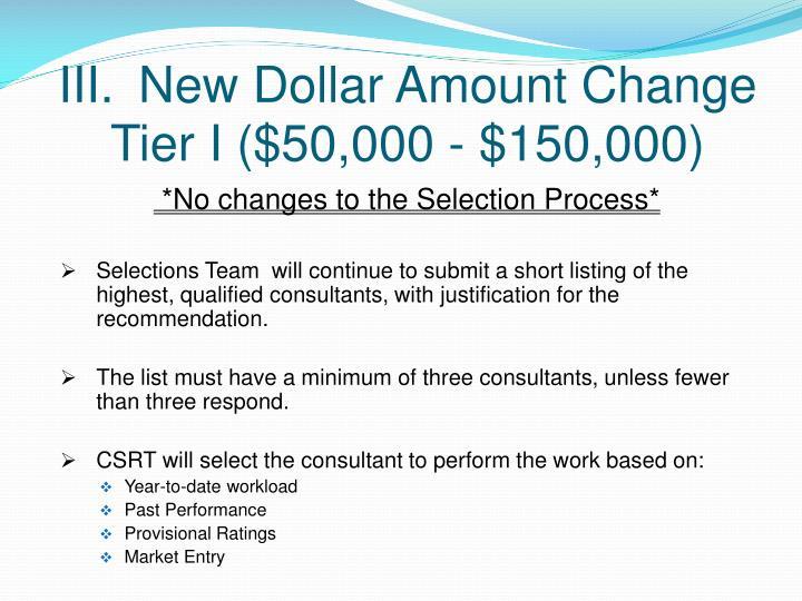 III.New Dollar Amount Change