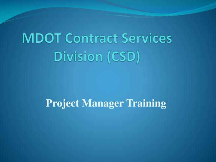 Mdot contract services division csd