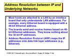 address resolution between ip and underlying networks
