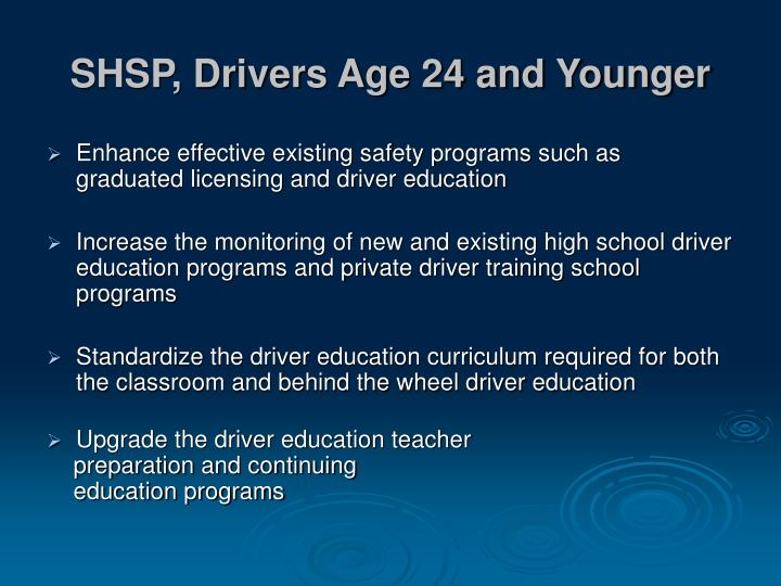 SHSP, Drivers Age 24 and Younger