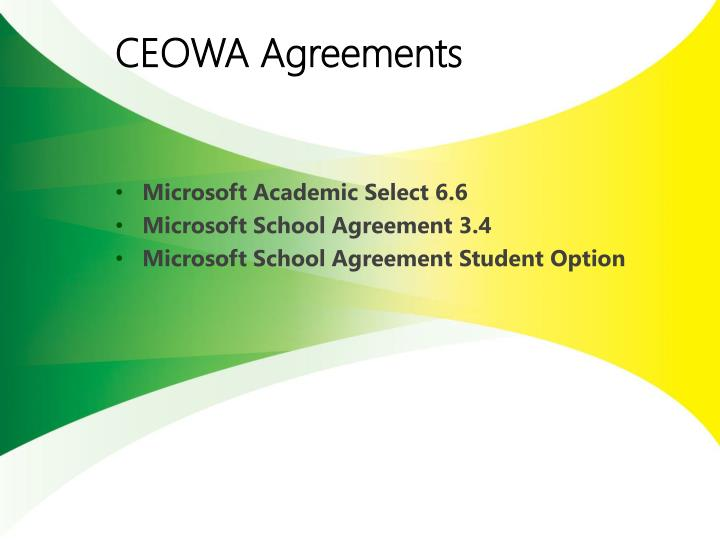 Ceowa agreements
