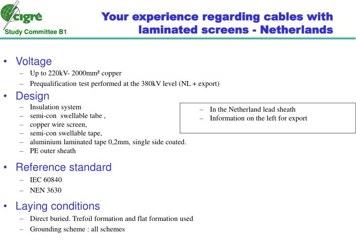 Your experience regarding cables with laminated screens - Netherlands