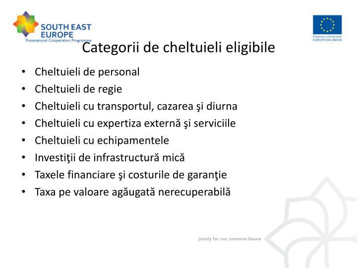 Categorii de cheltuieli eligibile