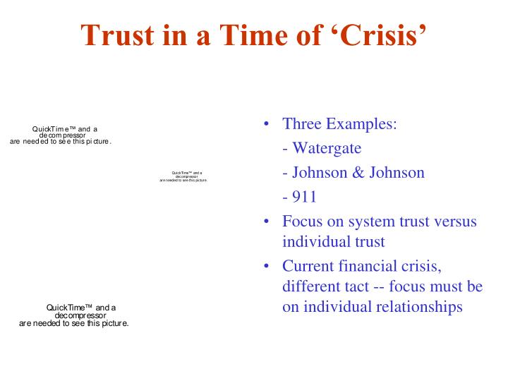 Trust in a Time of 'Crisis'