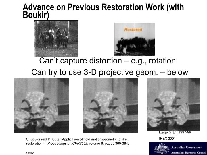 Can't capture distortion – e.g., rotation