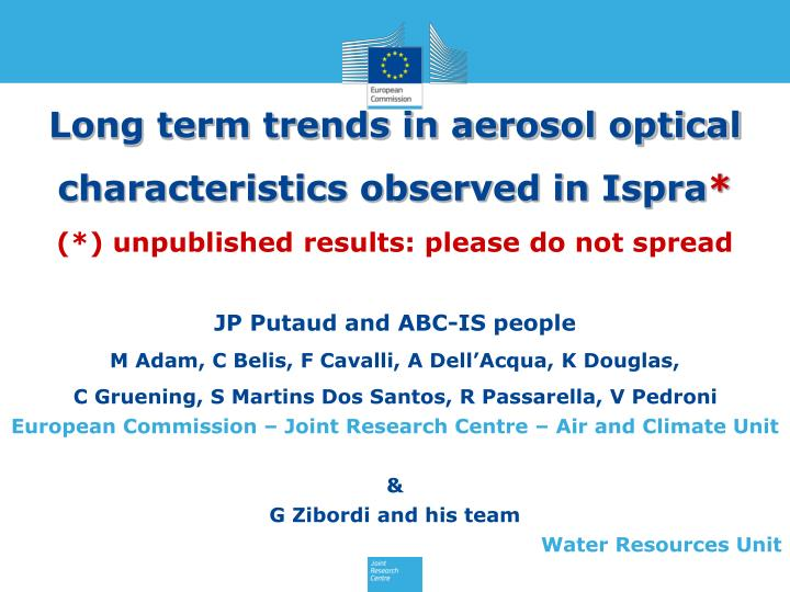 Long term trends in aerosol optical characteristics observed in Ispra