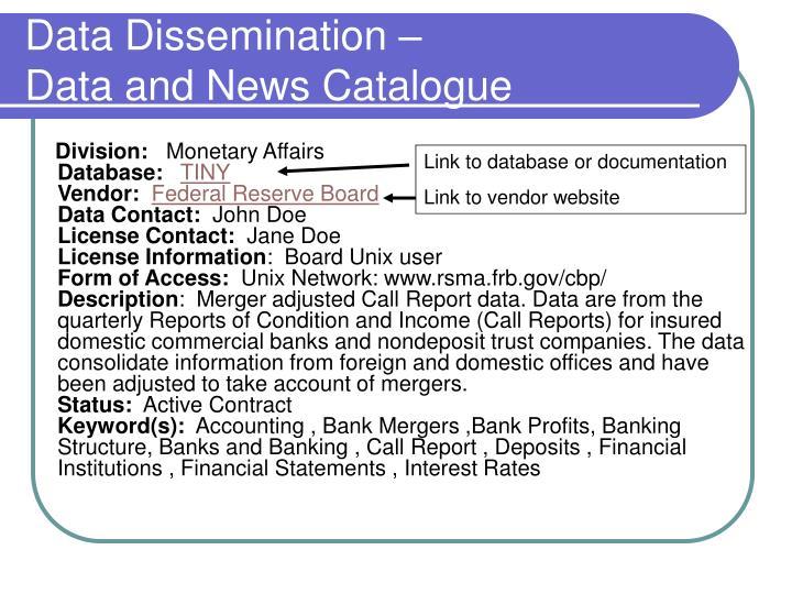 Data Dissemination –