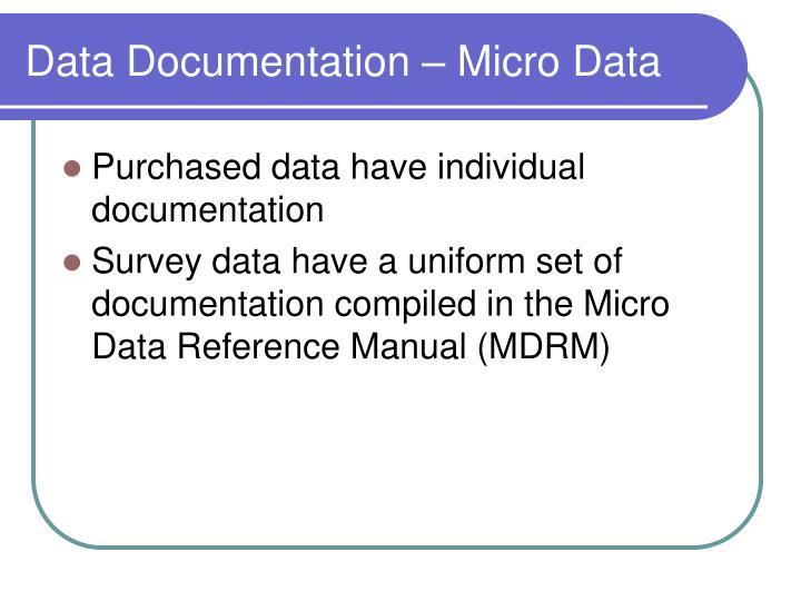 Data Documentation – Micro Data