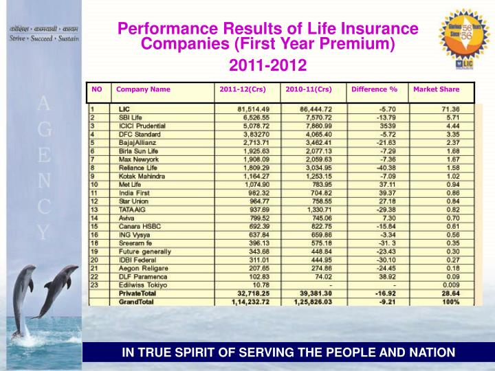 Performance Results of Life Insurance Companies (First Year Premium)