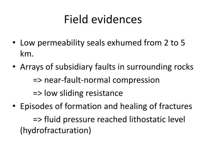 Field evidences