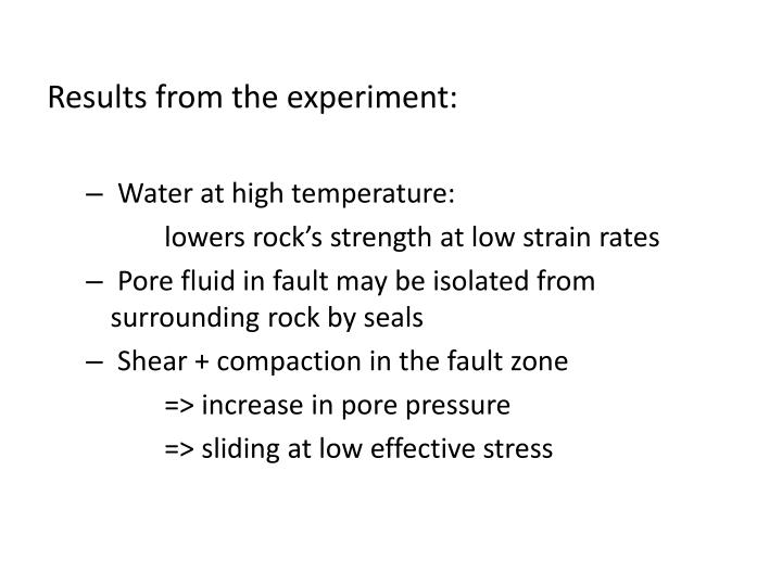 Results from the experiment: