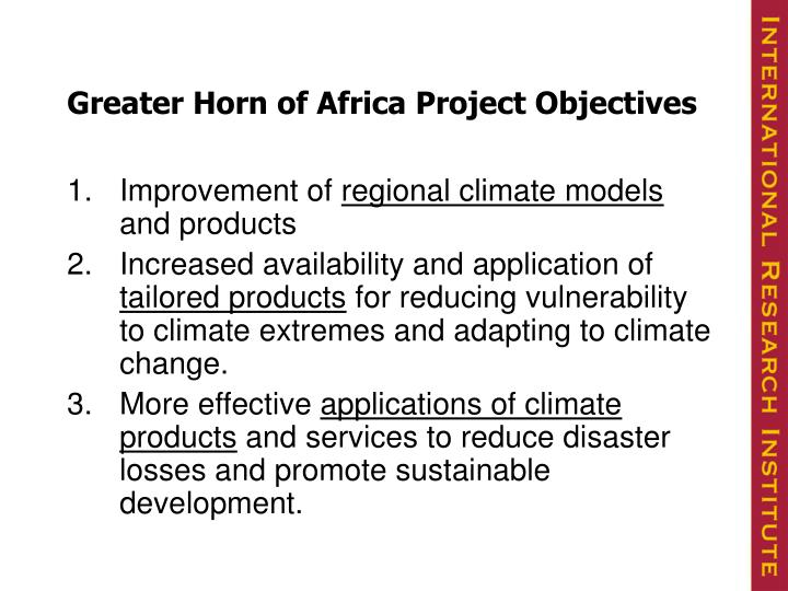 Greater Horn of Africa Project Objectives