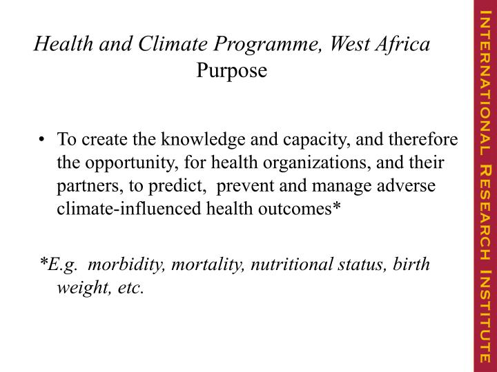 Health and Climate Programme, West Africa