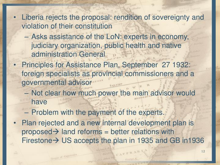 Liberia rejects the proposal: rendition of sovereignty and violation of their constitution
