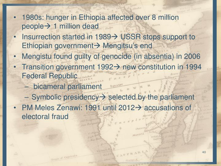 1980s: hunger in Ethiopia affected over 8 million people