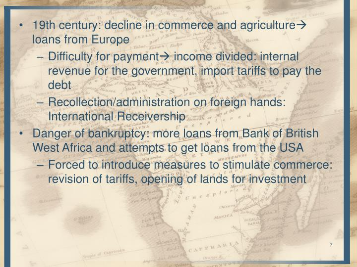 19th century: decline in commerce and agriculture