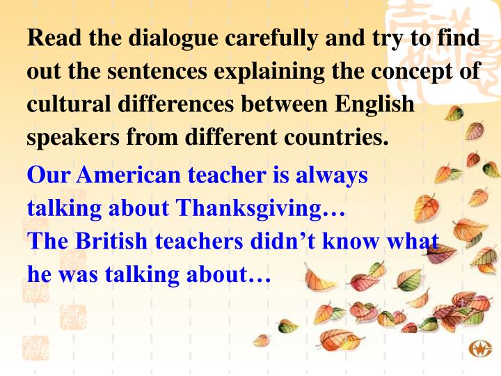 Read the dialogue carefully and try to find out the sentences explaining the concept of cultural differences between English speakers from different countries.