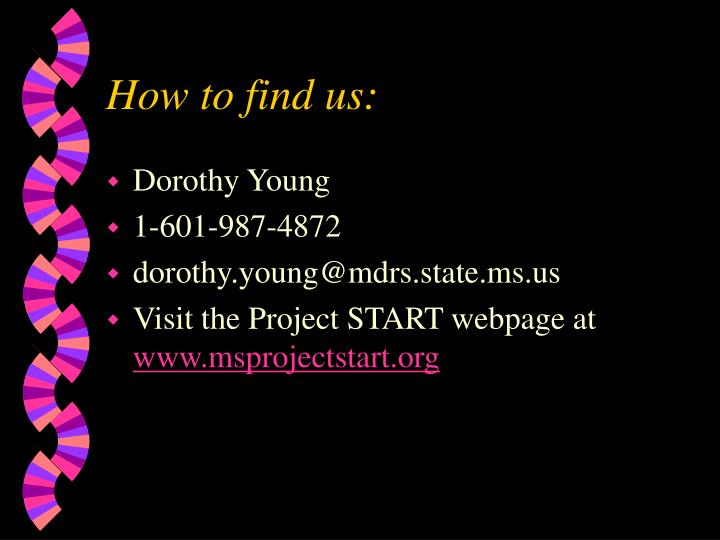 How to find us: