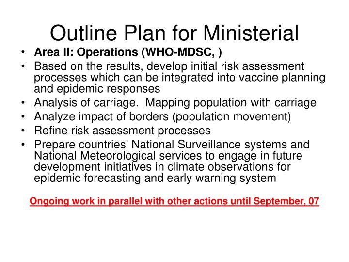 Outline Plan for Ministerial