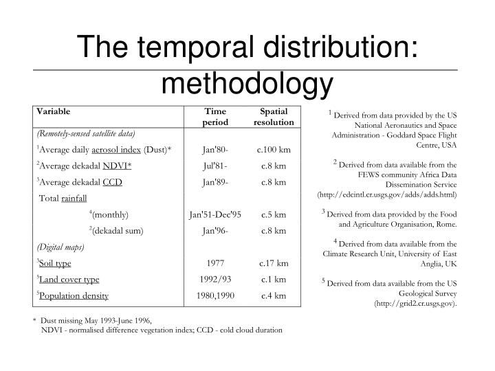 The temporal distribution: methodology