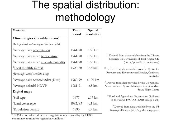 The spatial distribution: methodology