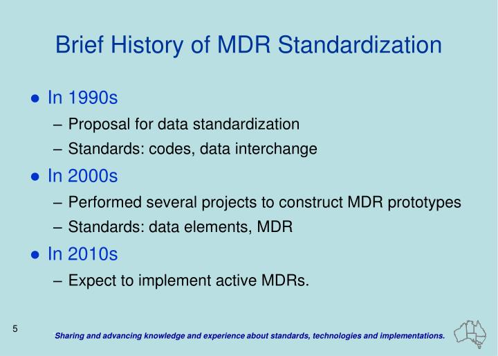 Brief History of MDR Standardization