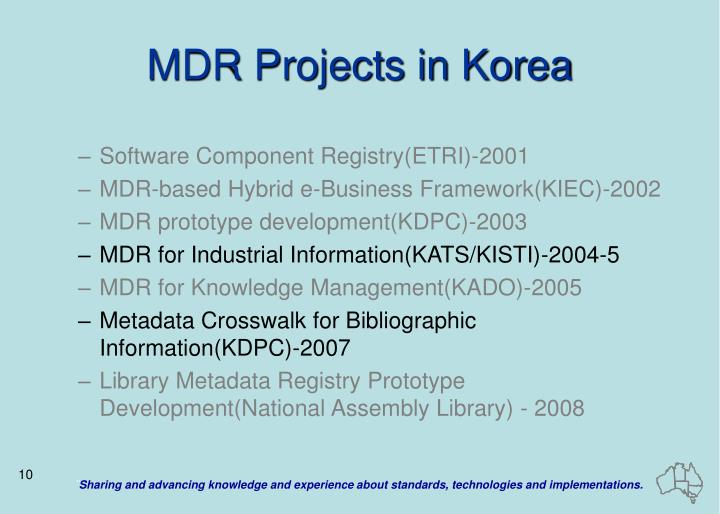 MDR Projects in Korea